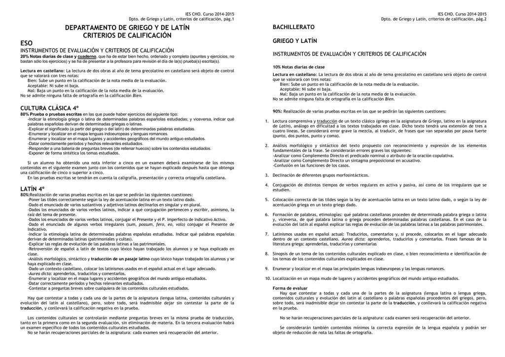 Criterios De Calificación De Latín Y Griego 2014 2015