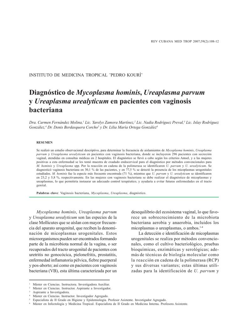 Diagnóstico de Mycoplasma hominis, Ureaplasma parvum y