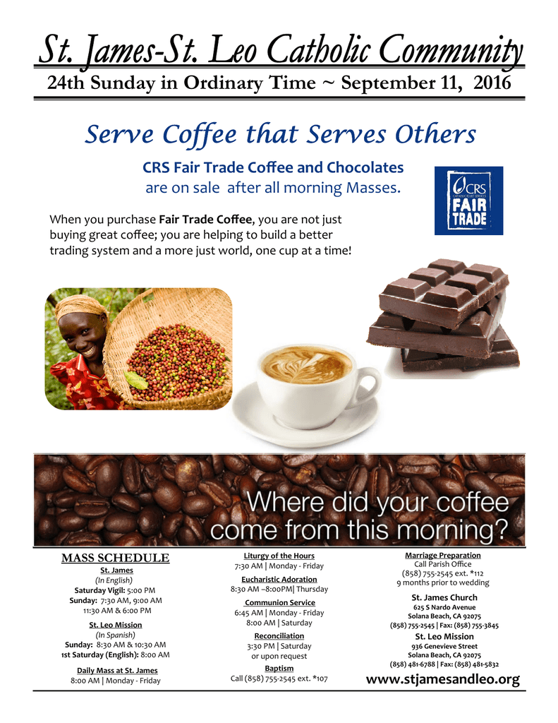 Serve Coffee that Serves Others - St  James and St  Leo Catholic