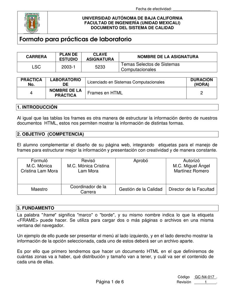 Formato Para Prácticas De Laboratorio