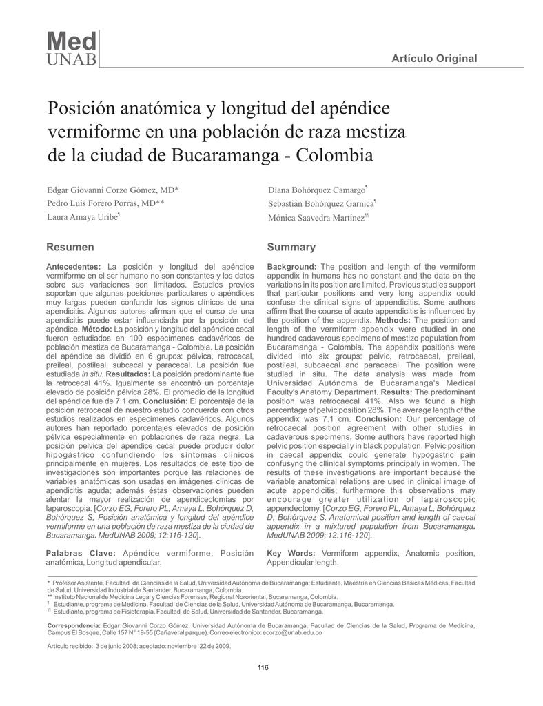 Posición anatómica y longitud del apéndice vermiforme en una