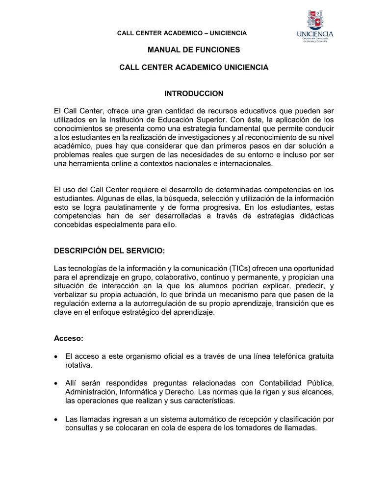 manual de funciones call center academico rh studylib es manual de call center pdf manual de capacitacion call center