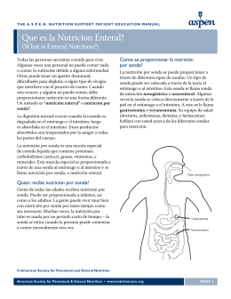 Que es la Nutricion Enteral? - American Society for Parenteral and