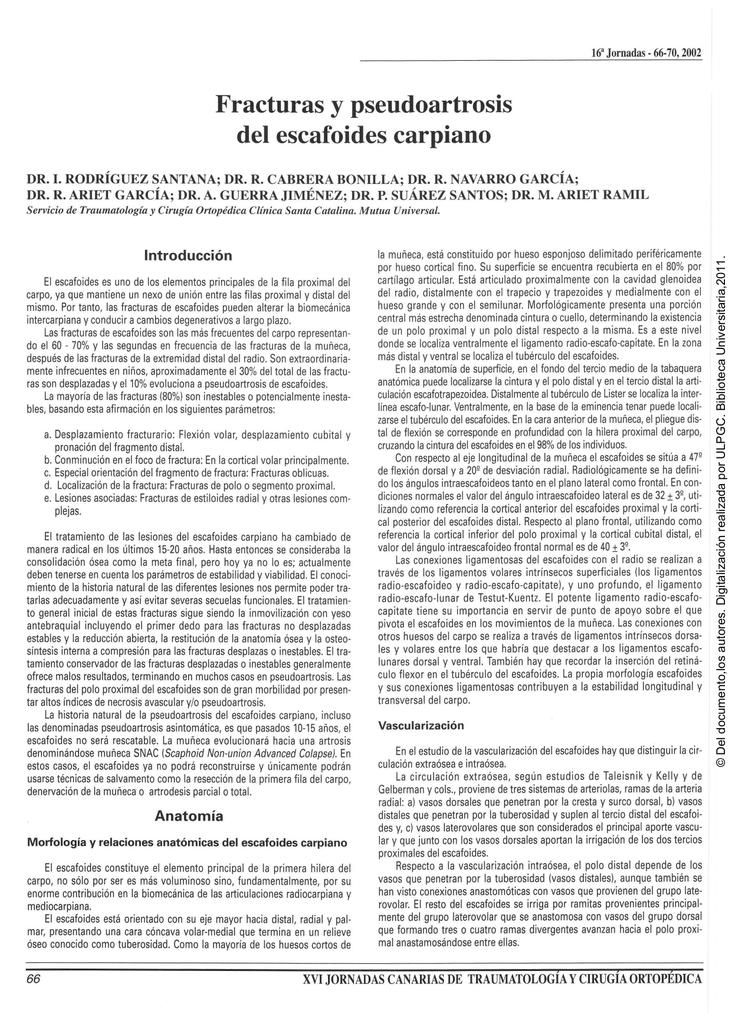 Fracturas y pseudoartrosis del escafoides carpiano