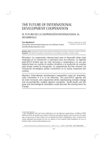 THE FUTURE OF INTERNATIONAL DEVELOPMENT COOPERATION