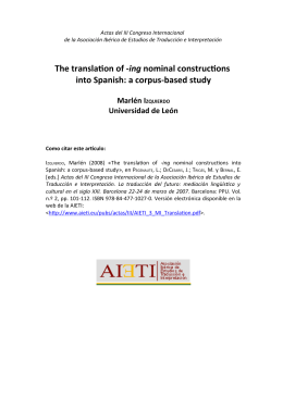 The translation of -ing nominal constructions into Spanish: a