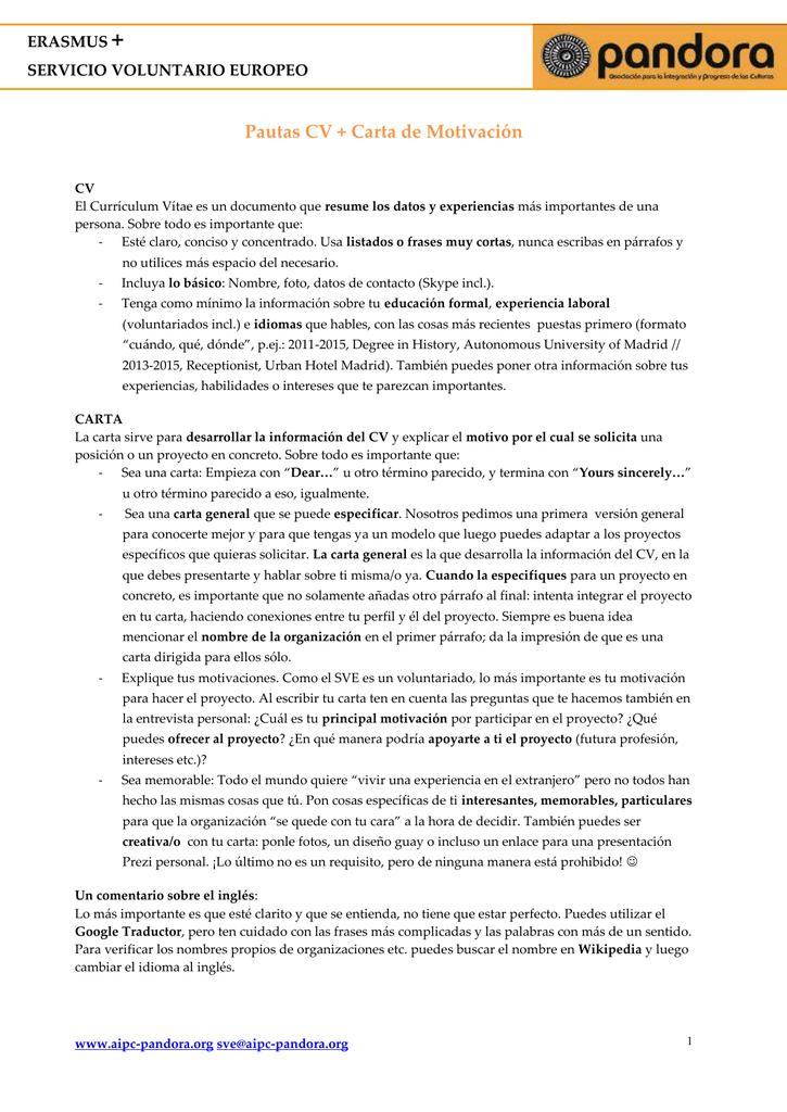 Doc Pautas Cv Y Carta