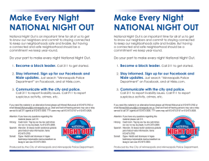 Make Every Night NATIONAL NIGHT OUT Make Every Night