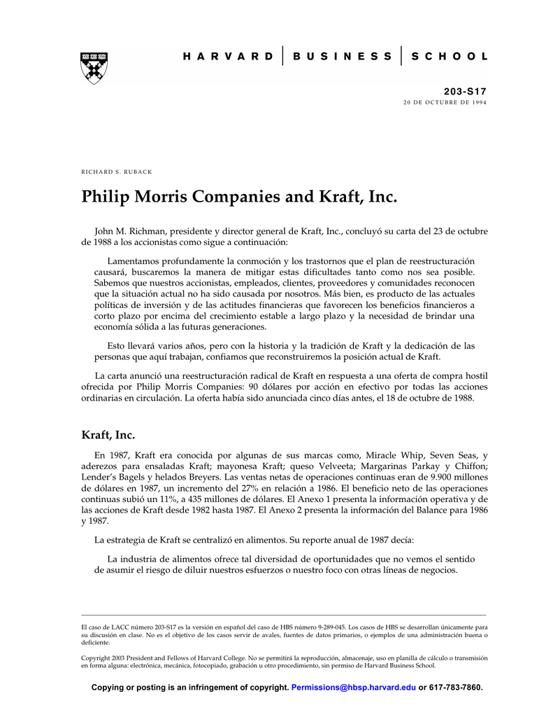 Philip Morris Companies and Kraft, Inc. spanish