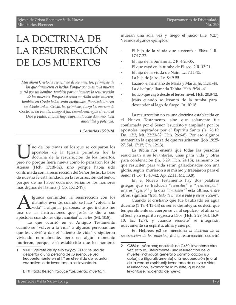 la doctrina de la resurrección de los muertos