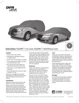 Instructions: PolyPRO™1 Car Cover, PolyPRO™1