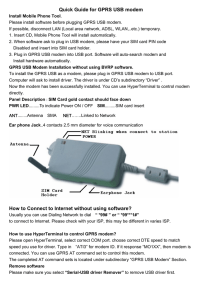 Quick Guide for GPRS USB modem How to Connect to