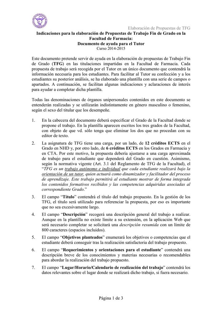 Elaboración de Propuestas de TFG Página 1 de 3 Indicaciones para