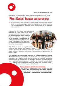 `First Dates` busca camarero/a