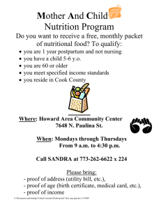 Mother And Child Nutrition Program