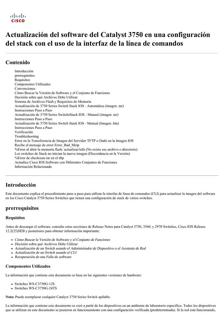Actualización del software del Catalyst 3750 en una