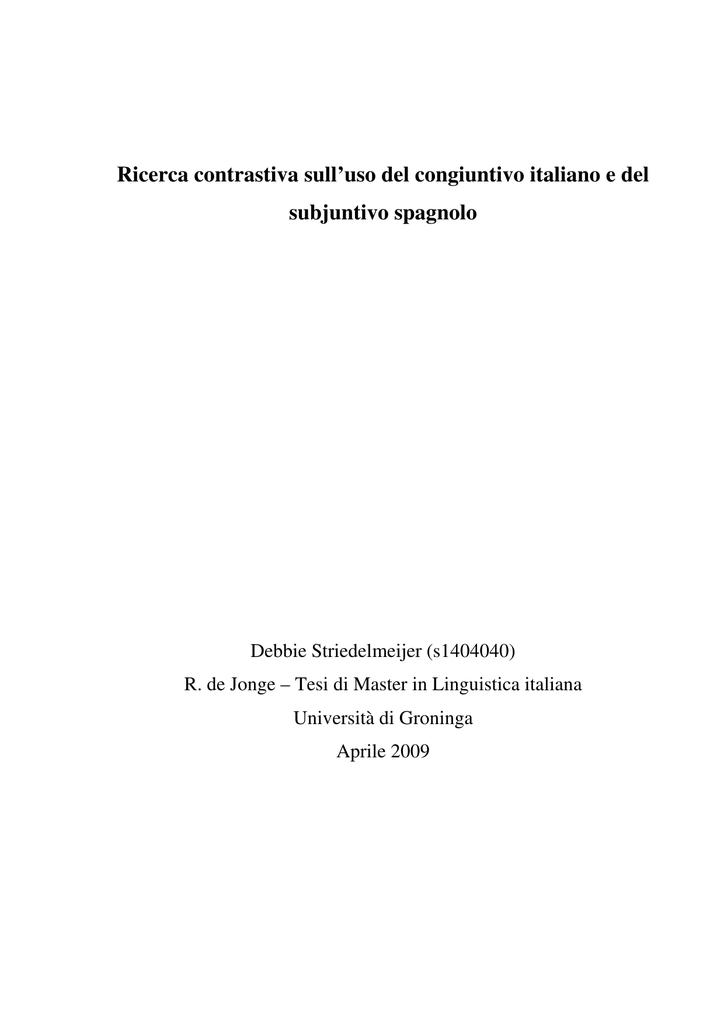 Ricerca Contrastiva Sulluso Del Congiuntivo Italiano E Del Subjuntivo