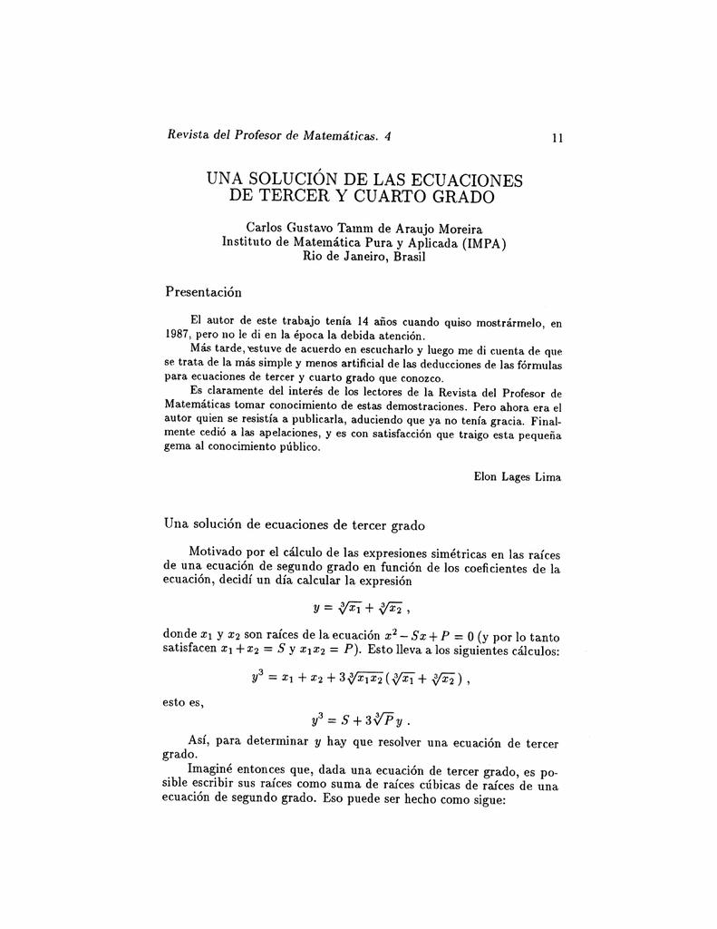 una solución de las ecuaciones de tercer y cuarto grado