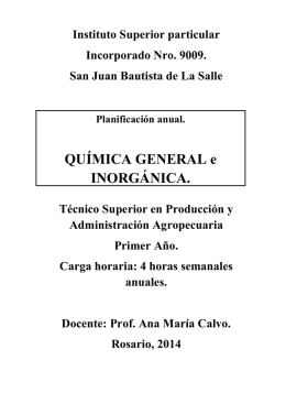 QUÍMICA GENERAL e INORGÁNICA.