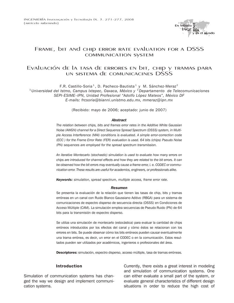 Frame, bit and chip error rate evaluation for a DSSS
