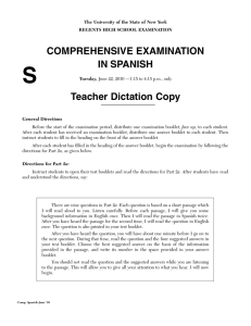 COMPREHENSIVE EXAMINATION IN SPANISH Teacher Dictation