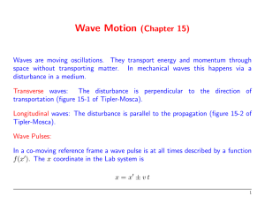 Wave Motion (Chapter 15)