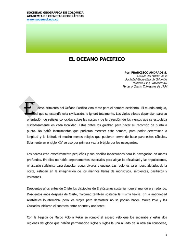 el oceano pacifico - Sociedad Geográfica de Colombia