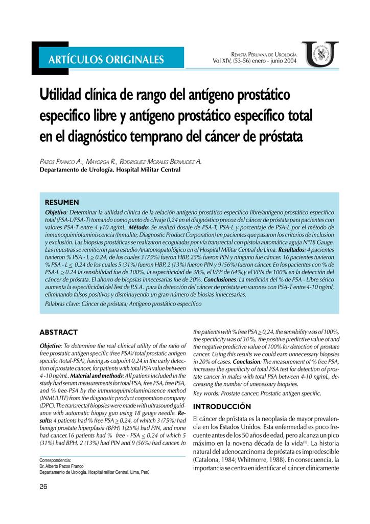antígeno prostático específico método de quimioluminiscencia libre