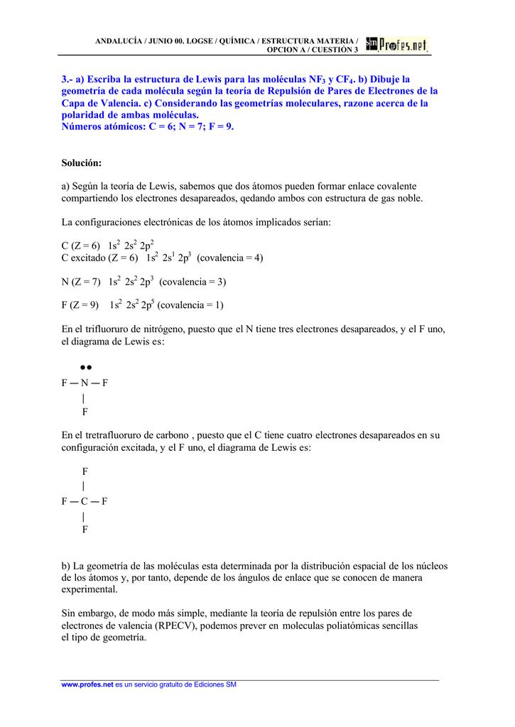3 A Escriba La Estructura De Lewis Para Las Moléculas Nf3