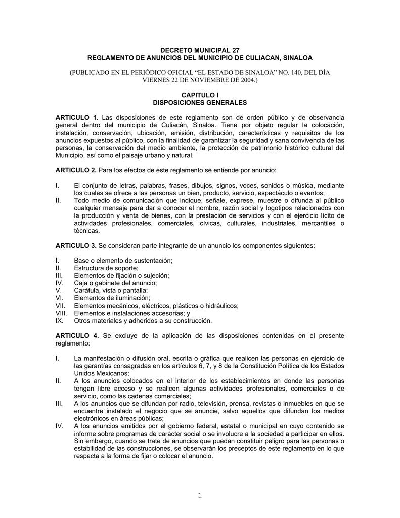 Decreto Municipal 27 Reglamento De Anuncios Del
