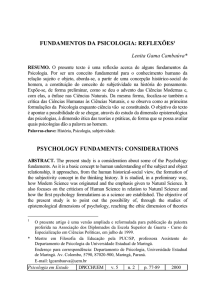 FUNDAMENTOS DA PSICOLOGIA: REFLEXÕES1 PSYCHOLOGY