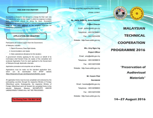 MALAYSIAN TECHNICAL COOPERATION PROGRAMME 2016