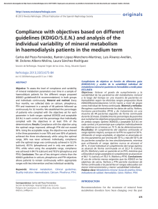 Compliance with objectives based on different guidelines (KDIGO