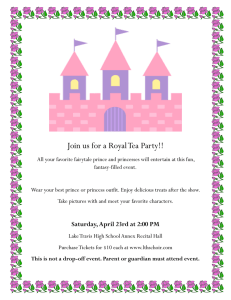 Join us for a Royal Tea Party!!