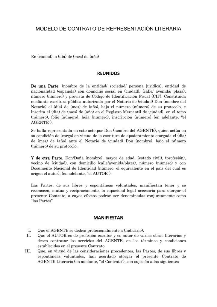 Modelo De Contrato De Representación Literaria