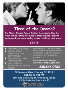 Tired of the Drama? - North Tahoe Family Resource Center