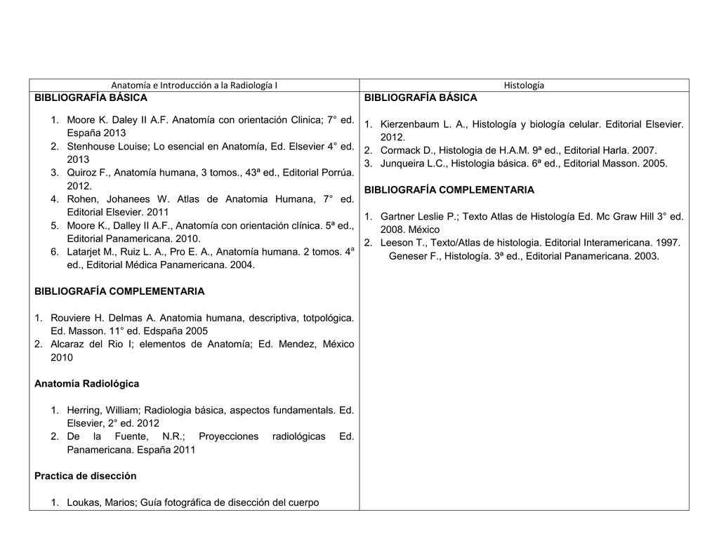Anatomía e Introducción a la Radiología I Histología