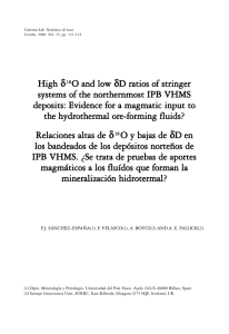 High δ18O and low δD ratios of stringer systems of the