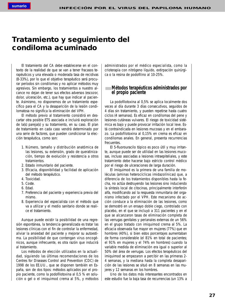 condiloma acuminado embarazo tratamiento