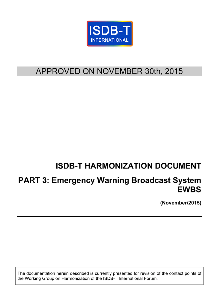APPROVED ON NOVEMBER 30th, 2015 ISDB