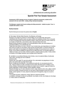 Spanish First Year Sample Assessment