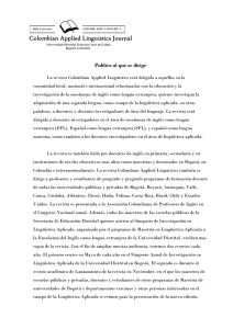 Publico al que se dirige - Colombian Applied Linguistics Journal
