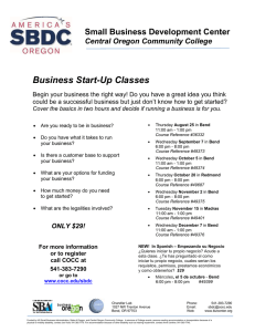 Business Start-Up Classes - Central Oregon Community College