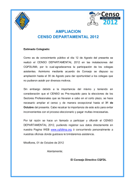 ampliacion censo departamental 2012