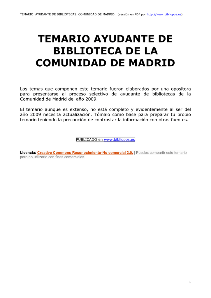 temario ayudante de biblioteca de la comunidad de madrid