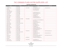 THE CONDADO PLAZA HiLTON SUPPLiERS LiST
