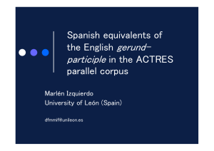 The English –ing form and its equivalents in Spanish: contrast
