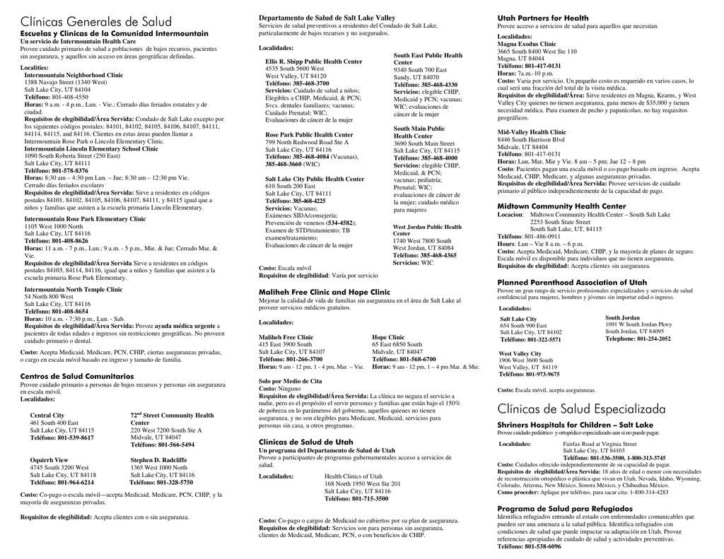 Lista De Recursos Sobre Salud Health Resources