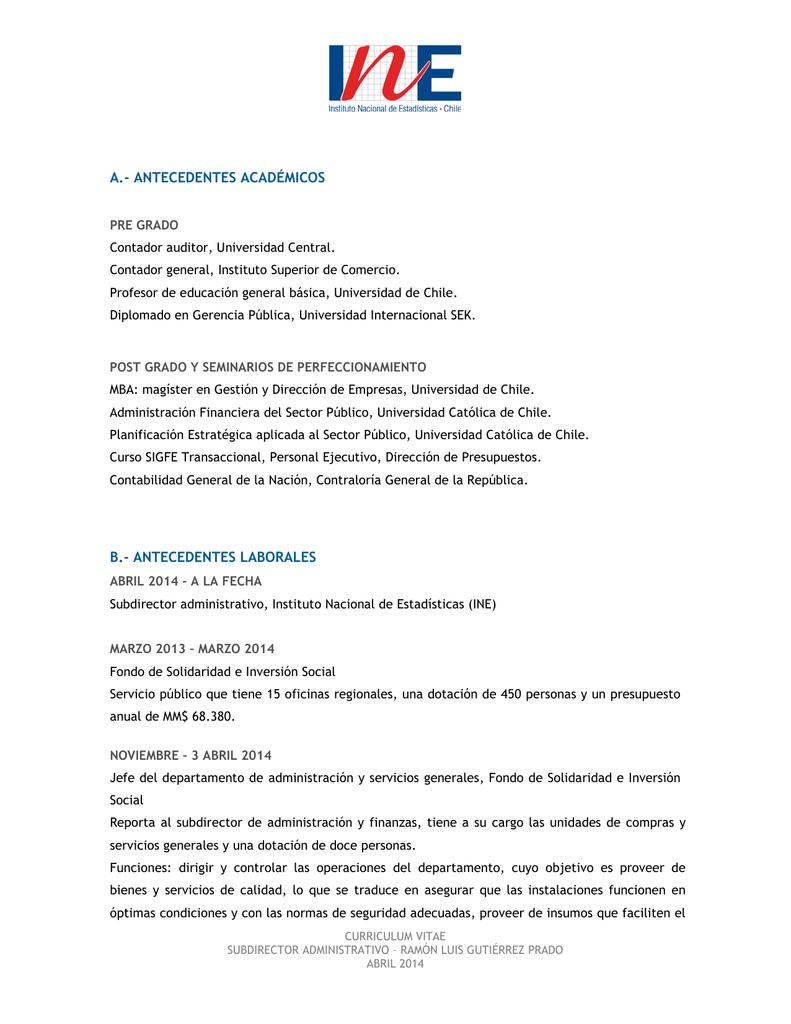 curriculum - Instituto Nacional de Estadísticas