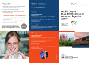 Double Degree M.Sc. Infection Biology, Alemania, Argentina AMIBA